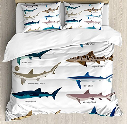 (Funy Decor Shark Bedding Set,Collection Types of Sharks Bronze Whaler Piked Dogfish Whlae Shark Maritime Design,4 Piece Duvet Cover Set Bedspread for Childrens/Kids/Teens/Adults,Multicolor Queen)