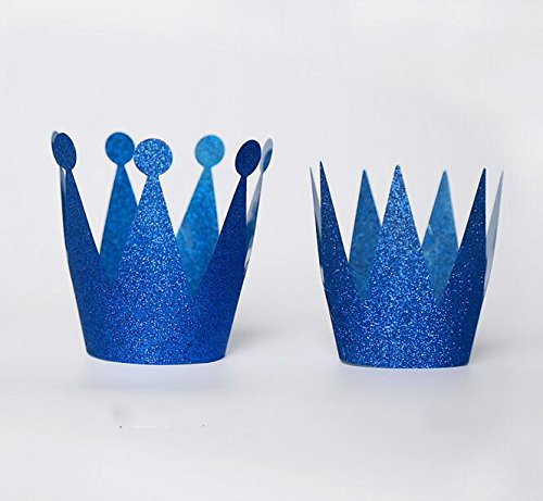 IMagicoo Set of 12 Shimmering Glitter Birthday Crown Hats Cap for Party Decoration (Dark Blue)