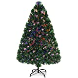 Goplus 4ft Artificial PVC Christmas Tree Pre-Lit Fiber...