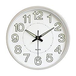 Jeteven 12'' Luminous Wall Clock Night Light Function Clock Quartz Wall Clock for Indoor/Outdoor Living Room Bedroom Kitchen Decor Battery Operated Silver