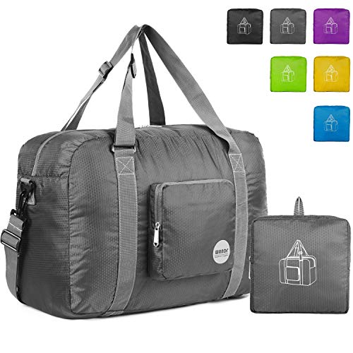 - Wandf Foldable Travel Duffel Bag Luggage Sports Gym Water Resistant Nylon, Grey