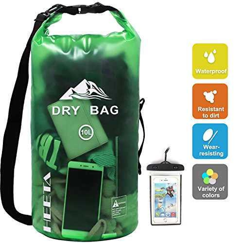 HEETA Waterproof Dry Bag for Women Men, Roll Top Lightweight Dry Storage Bag Backpack with Phone Case for Travel, Swimming, Boating, Kayaking, Camping and Beach, Transparent Green 10L