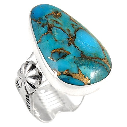 Sterling Silver Ring Genuine Turquoise (SELECT color) (Teal/Matrix Turquoise, (Turquoise Matrix)