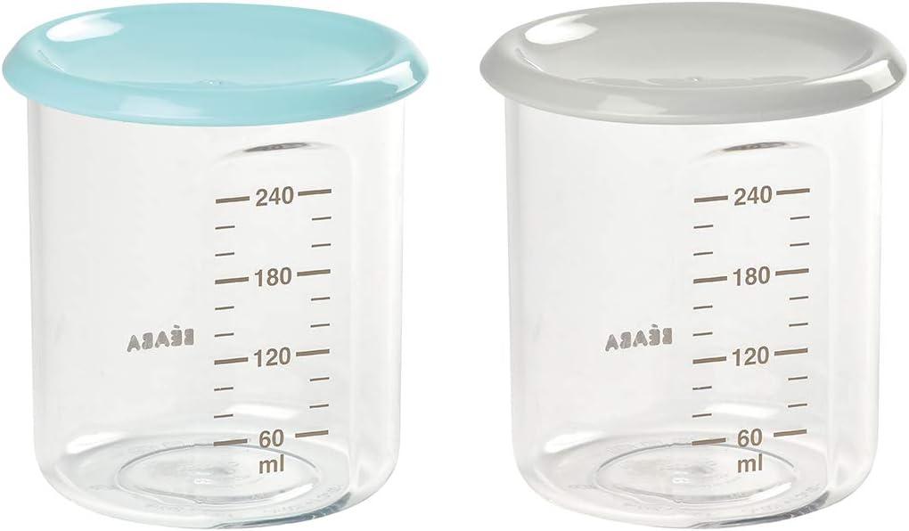 B/ÉABA Lot 2 Maxi Portions Plastique Qualit/é Premium 2x240ml Light Blue//Grey Bleu 240ml