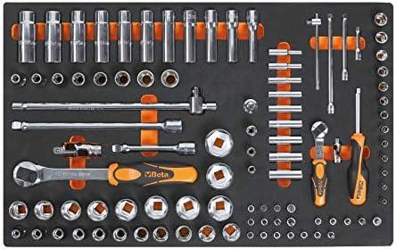 Beta M100 Set mit langen Steckn/üssen 1//4 Zoll und 1//2 Zoll und Steckschl/üssel aus weichem Thermoformat.