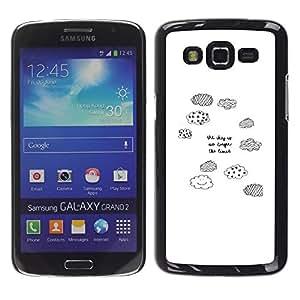 TopCaseStore / la caja del caucho duro de la cubierta de protección de la piel - Clouds White Pen Quote Sky Limit - Samsung Galaxy Grand 2 SM-G7102 SM-G7105