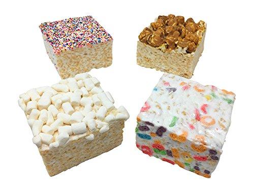Gourmet Marshmallow Crispy Rice Treats - 4 Cakes (Fruity Rings, Popcorn, Rainbow, Mini Mallows)