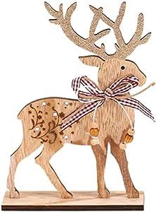 Holibanna Wooden Christmas Reindeer DIY Wood Reindeer for Home Kitchen Office Desk