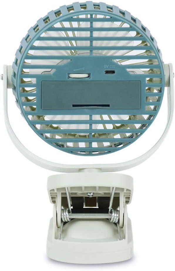 Portable Travel Clip Fan Rechargeable USB Mini Clamp for Desk Pram Cot Car Desk Blue