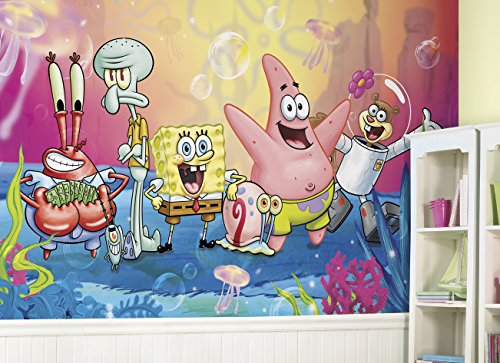 RoomMates Spongebob Squarepants  Removable Wall Mural - 10.5 feet X 6 feet (Spongebob Mural)