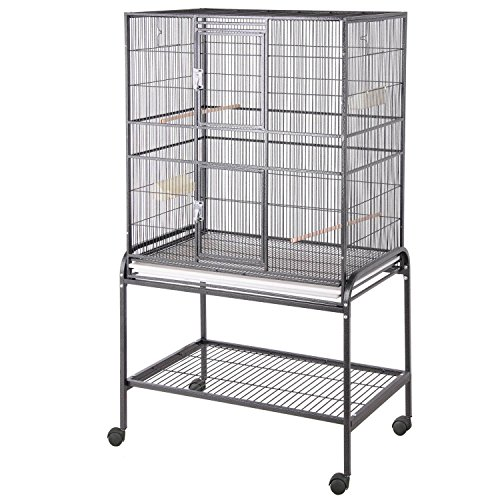 HQ Flight Cage, Multi Purpose Aviary with Cart Stand, Black, 1 Per Box
