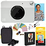 Kodak Printomatic Instant Camera (Grey) Deluxe Bundle + Zink Paper (20 Sheets) + Deluxe Case + Photo Album + Hanging Frames + Comfortable Neck Strap