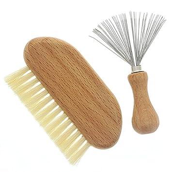 Haarbürstenreiniger Bürstenreiniger Kammreiniger Holzgriff Haare Frau