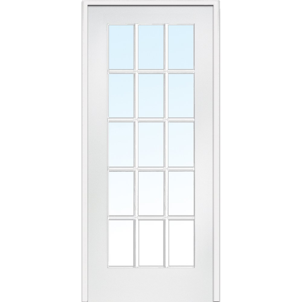 National Door Company Z009307R Primed MDF 15 Lite Clear Glass, Right Hand Prehung Interior Door, 36'' x 80''