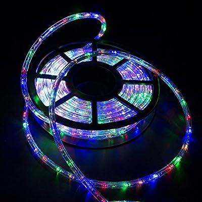 Ainfox 110V 50FT PVC Tubing LED Rope Light Decorative Street Party Christmas Birthday Restaurant Light Kit