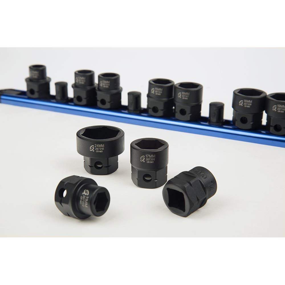 Sunex 2673 15Piece 1/2'' Drive Low Profile Impact Socket Set with Hex Shank Mm, by Sunex Tools (Image #3)