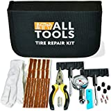Heavy Duty Tire Repair Kit Best for Car Bike Motorcycle Trailer RV ATV Jeep Truck Tractor with Quality Tire Pressure Gauge, Gloves - Flat Tire Plug Tubeless Kit - Emergency Puncture Repair Patch Kit
