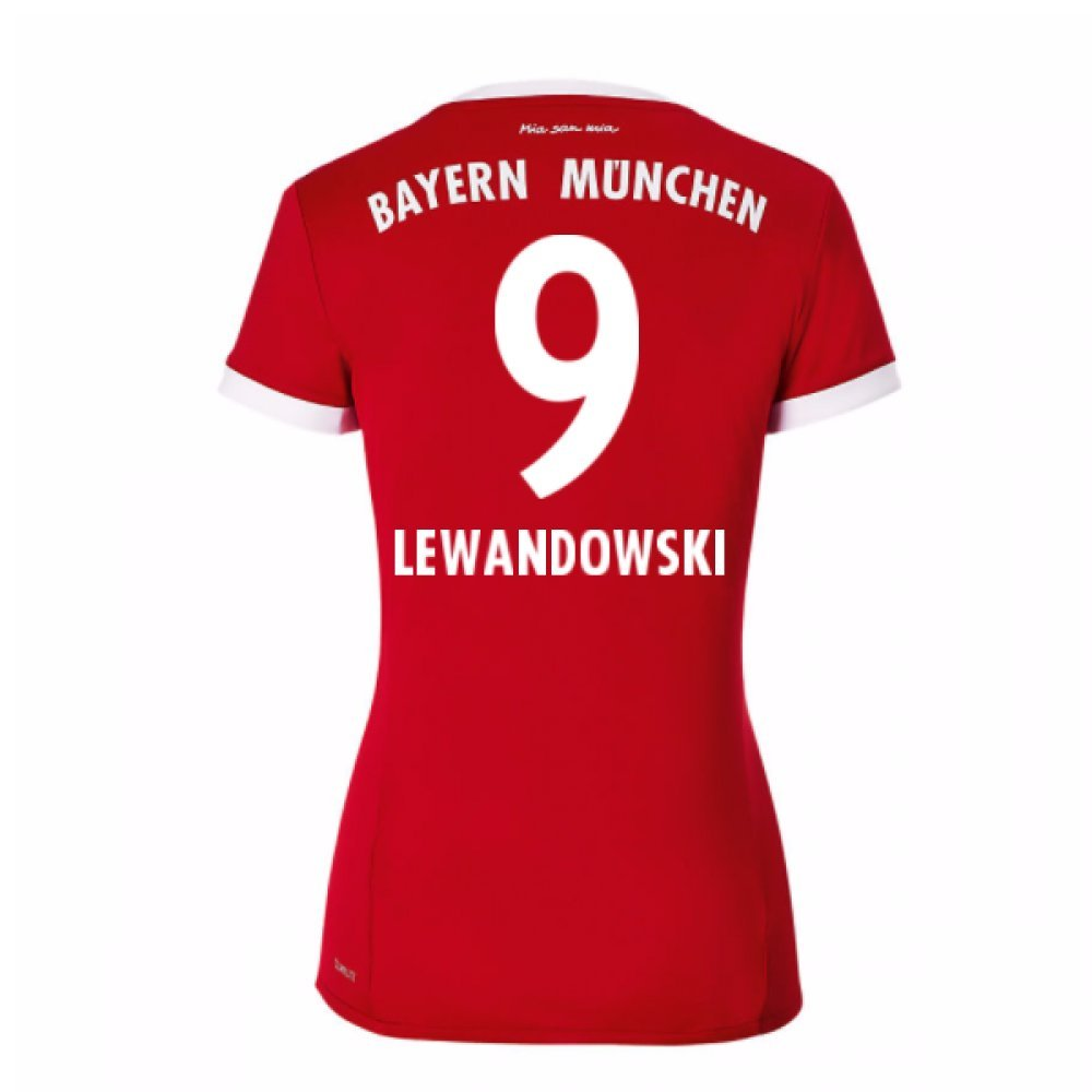 2017-18 Bayern Munich Home Damenschuhe Football Soccer T-Shirt Trikot (Robert Lewandowski 9)