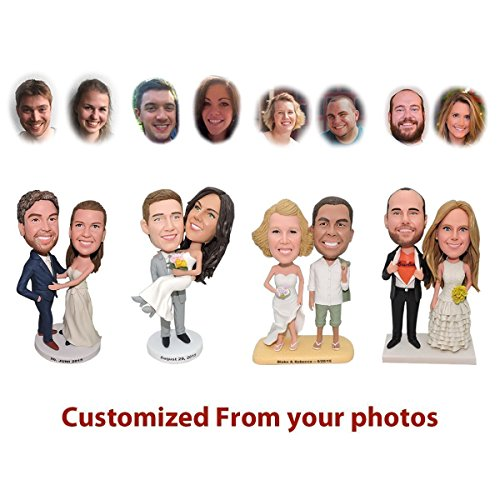 Custom Bobblehead Wedding Couple Unique Bobbleheads, Personalized Wedding Gift for Groom & Bride, Wedding Cake Topper - Customized Bobblehead Figures From Head To Toe Based On Your Photos by 1uniquegift