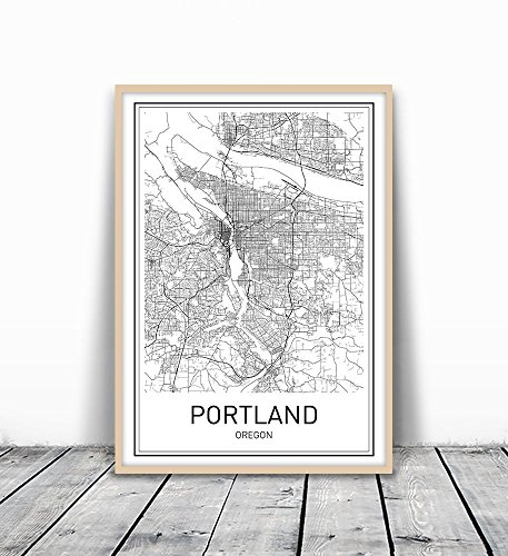Portland Poster, Portland Map, Map of Portland, City Map Posters, Portland Map Print, Oregon Map, Minimalist Poster, Scandinavian Poster, Black and White, Map Wall Art, Map Art, 8x10 - Black Art Posters
