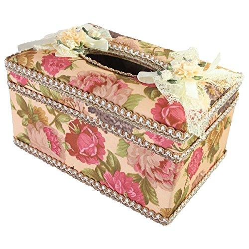HZY elegante Spitze Blumen Tuch Rechteck Tissue Box(Rot)