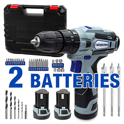 """WORKPRO 12V Cordless Drill Driver Kit, 2-Speed, 2 Li-Ion Batteries 2000 mAh, Fast Charger, 3/8"""" Clutch, 18+3 Torque…"""