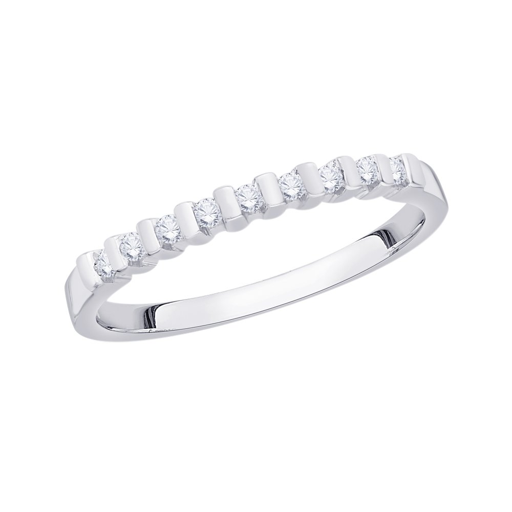 G-H,I2-I3 1//8 cttw, Size-8.75 Diamond Wedding Band in 14K White Gold