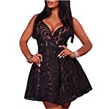 Lrud Women's Sexy Spaghetti Straps Backless Floral Lace Swing A Line Party Skater Dress Black S