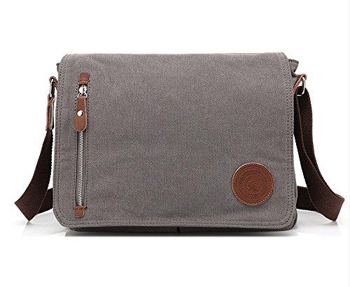 Otomoll New Man Bag Student Bag Canvas Bag Korean Leisure Unique 14-inch Bag Crossbody Bag, Black Dark Gray