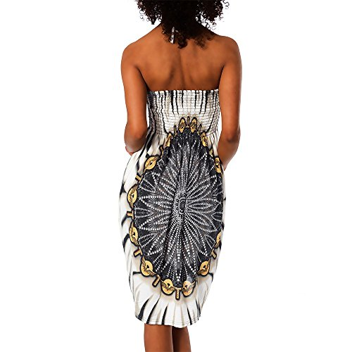 nu robe multicolore Schwarz F Femme robe tissu tuchkleid bandeau motif dos 021 112 wzqCq