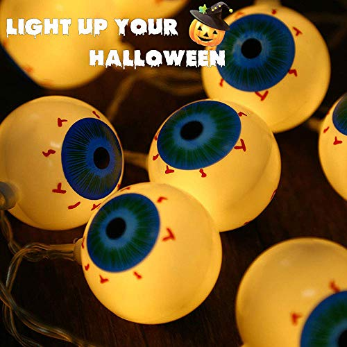Halloween Eyeball String Light 10 LED Battery Powered Steady/Flickering Lights Eyeball String Lights Hanging Indoor/Outdoor String Light for Backyard, Bistro, Pergola, Cafe (Warm White,1.2 meters ) -