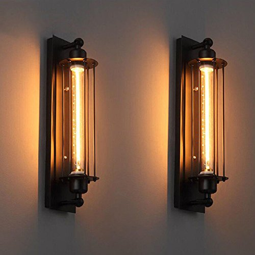 - Boshen 2pc Industrial Vintage Wall Sconce Lamp Light Edison Wall Mounted Porch Flute Light Fixture