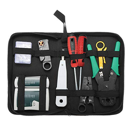 Solsop 9 in 1 Network Tool Kit Professional, Cat6 Cat5e Rj45 Crimp Tool, 8P8C RJ45 Connectors, Cable Tester, 2 Pack Screwdriver, Stripping Pliers Tool Set
