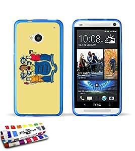 Carcasa Flexible Ultra-Slim HTC ONE / M7 de exclusivo motivo [Nueva Jersey Bandera] [Azul] de MUZZANO  + ESTILETE y PAÑO MUZZANO REGALADOS - La Protección Antigolpes ULTIMA, ELEGANTE Y DURADERA para su HTC ONE / M7