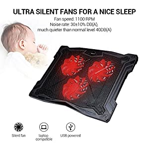 """Laptop Cooler, ECOLA Ultra Slim Laptop Cooling Pad Chill Mat Adjustable Mounts Stand 2 USB Ports for 13""""-17"""" laptop with 3 Heavy Duty Quiet Fans USB Powered with LED Lights"""