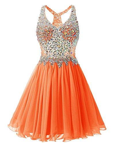 Orange Homecoming Dresses (Fanciest Women's Beaded 2017 Prom Dresses Short Bridesmaid Homecoming Dress Orange US2)