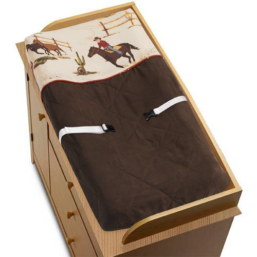 Sweet Jojo Designs Wild West Cowboy Western Horse Baby Boys Changing Pad - West Collection Crib Bedding