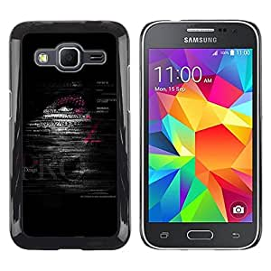 FECELL CITY // Duro Aluminio Pegatina PC Caso decorativo Funda Carcasa de Protección para Samsung Galaxy Core Prime SM-G360 // Quote Text Man Deep Dark Black