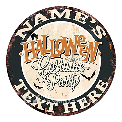 Any Name's Any Text Halloween Costume Party Custom Personalized Chic Tin Sign Rustic Shabby Vintage Style Retro Kitchen Bar Pub Coffee Shop Man cave Decor Gift Ideas]()