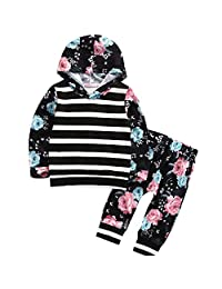 Baby Toddler Girls Kid Autumn Floral Stripe Hoodie Sweatshirt Top With Pant Tracksuit