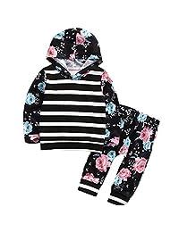 Baby Toddler Girls Kid Autumn Floral Stripe Hoodie Sweatshirt Top With Pant Tracksuit