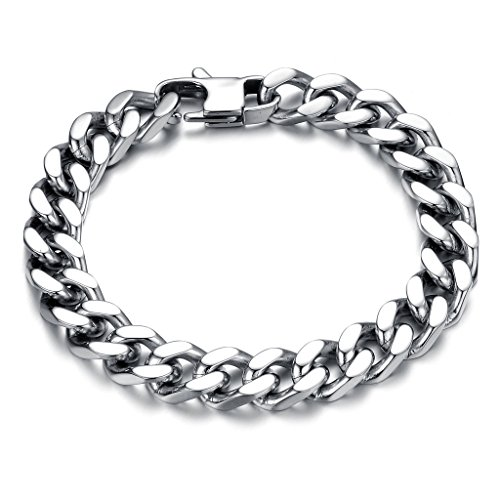 Fashion Ahead Silver Tone Heavy Metal Titanium Steel Curb Chain Bracelet for (Heavy Metal Chain)