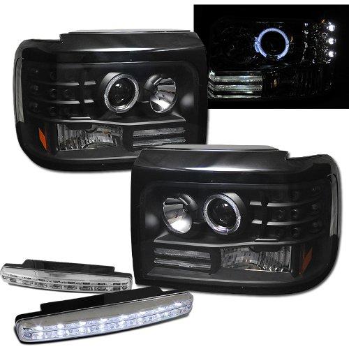 Ford F150 F250 F350 Halo Projector Headlights + 8 Led Fog Bumper ()