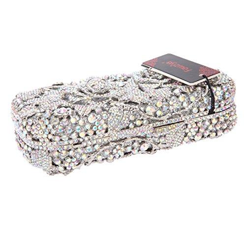 Bag Women Floral Clutch For Handbags Silver AB Purse Crystal Fawziya And Rhinestone Xdw1Xz