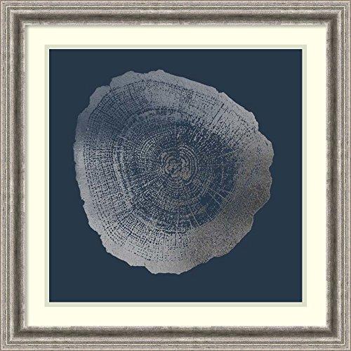 Silver Cobalt Foil (Framed Art Print 'Silver Foil Tree Ring IV on Cobalt' by Vision Studio)
