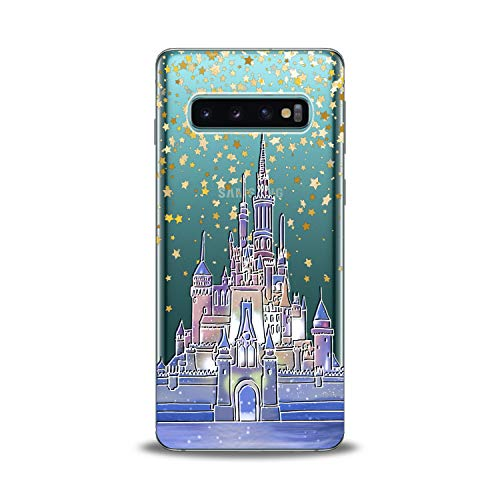 Belle Fairy Castle - Lex Altern TPU Case for Samsung Galaxy s10 5G Plus 10e Note 9 s9 s8 s7 Fairy Figure Castle Clear Cover Cute Princess Silicone Yellow Stars Print Pattern Protective Transparent Girls Women Present Kid