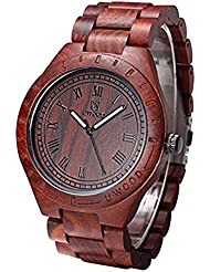 BIOSTON Red Sandalwood Roman Number Vintage Wood Watch For Men Wooden Watch Clock