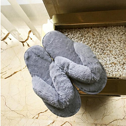 TAOtTAO Autumn/Winter Women Fluffy Faux Fur Flat Slipper Short Plush Round Toe Non-slip Soft Flip Flop Sandal Sports Casual Stylish Street Snap Indoor &Outdoor House Spa Sliders Bath Beach Pool Shoes Gray LjsdTtemL