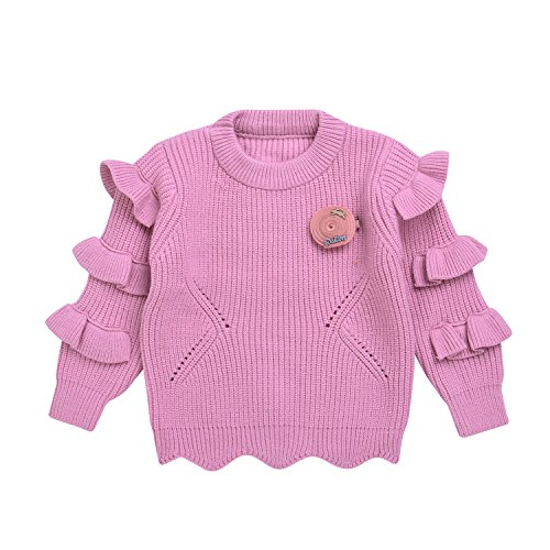 Toddler Girl Sweater 3T Pink Pullover Long Sleeve Solid Ruffle Cardigan (Size3T, Pink)