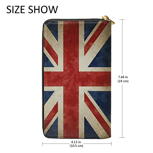 Handbag Holder Clutch Different ALAZA Wallet Card Genuine Leather Black british Long Flag Leather Themes Purse aqwpw0